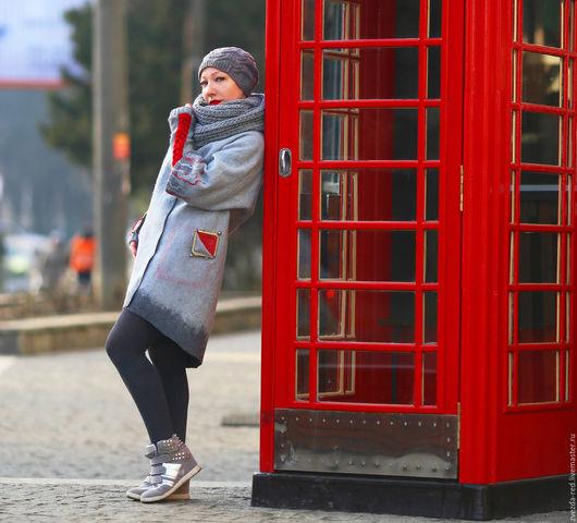 """Верхняя одежда ручной работы. Ярмарка Мастеров - ручная работа. Купить кардиган """"Я уеду жить в Лондон"""". Handmade. Серый"""