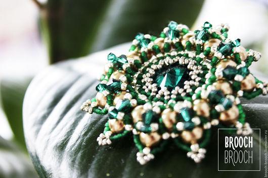 Броши ручной работы. Ярмарка Мастеров - ручная работа. Купить Green leaf. Handmade. Тёмно-зелёный, granada, handmade