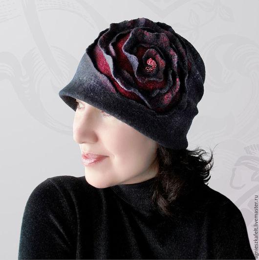 """Шляпы ручной работы. Ярмарка Мастеров - ручная работа. Купить Шляпка """"Сон о розе"""". Handmade. Темно-серый, оригинальная шляпка"""