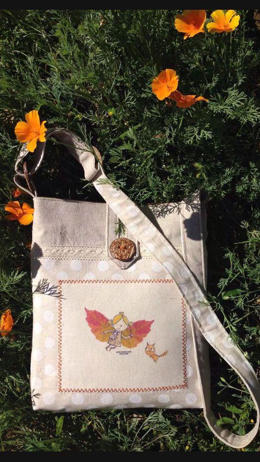 Женские сумки ручной работы. Ярмарка Мастеров - ручная работа. Купить льняная сумочка с феечкой осени. Handmade. Рисунок, принт
