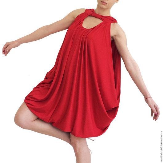 Платья ручной работы. Ярмарка Мастеров - ручная работа. Купить BERRY драпированные миди платье-туника. Handmade. Ярко-красный