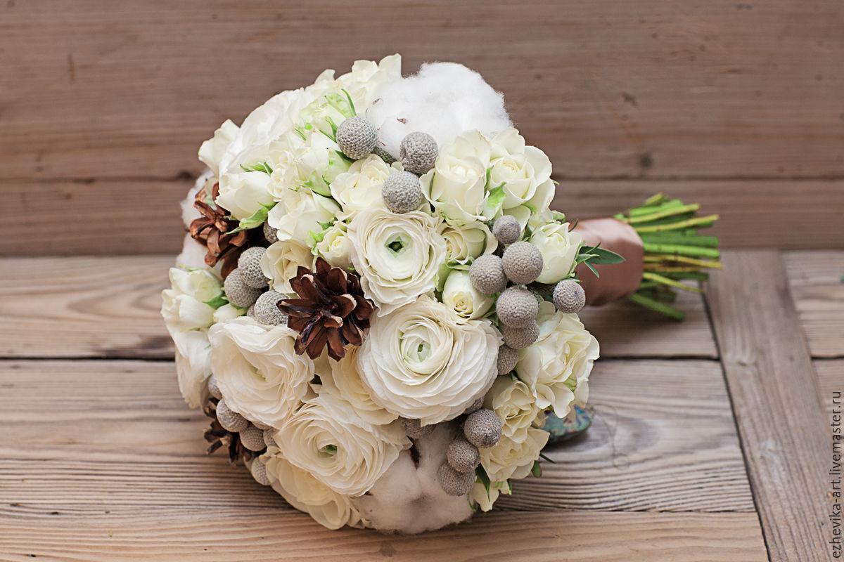 Зимние букеты свадебные