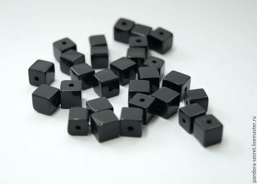 Для украшений ручной работы. Ярмарка Мастеров - ручная работа. Купить Черный агат куб, бусина кубик черный агат, квадратная бусина. Handmade.