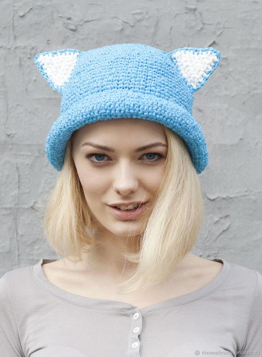 Шляпы ручной работы. Ярмарка Мастеров - ручная работа. Купить Голубая летняя шляпа с ушками. Handmade. Голубой, шляпа с ушками
