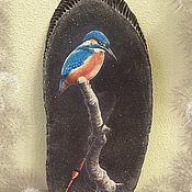 """Картины и панно ручной работы. Ярмарка Мастеров - ручная работа """"Зимородок"""". Панно на березовом спиле. Handmade."""