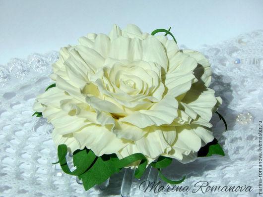 Заколка краб для волос Молочная Роза