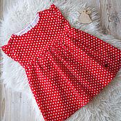 Платье ручной работы. Ярмарка Мастеров - ручная работа Платье для девочки Красное в горошек с подкладкой. Handmade.
