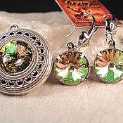 Украшения handmade. Livemaster - original item Set with Swarovski crystals Luminous Green. Handmade.