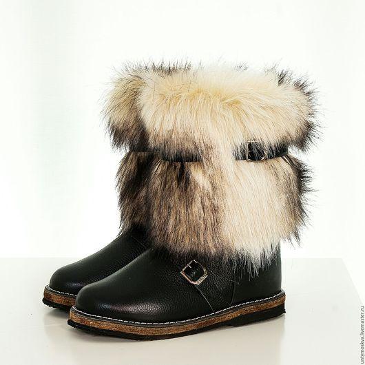Обувь ручной работы. Ярмарка Мастеров - ручная работа. Купить Унты мужские собака (короткие,войлок). Handmade. Черный, зима