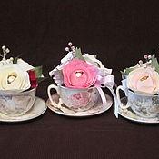 Сувениры и подарки ручной работы. Ярмарка Мастеров - ручная работа Чайные пары с украшением из конфетных цветов и чая. Handmade.
