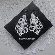 Свадебный салон ручной работы. Ярмарка Мастеров - ручная работа Кружевные серьги для невесты. Handmade.