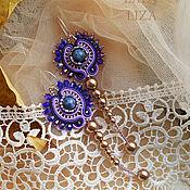 Украшения handmade. Livemaster - original item Purple soutache earrings Starry sky. Handmade.