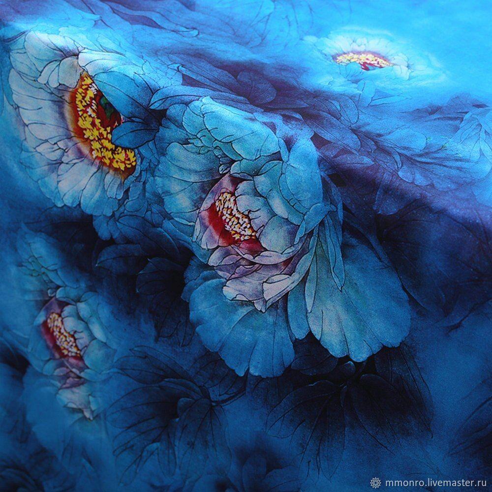 Natural silk satin, Celestial peonies, Fabric, Podolsk,  Фото №1