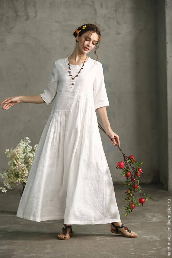 Льняные платья Свободный крой