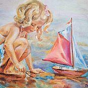 """Картины ручной работы. Ярмарка Мастеров - ручная работа Картина маслом""""Кораблик детства"""". Handmade."""