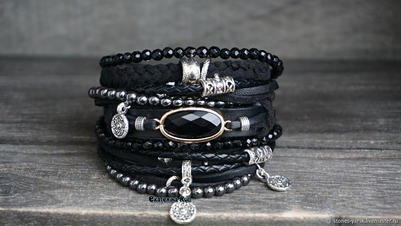 BOHO-chic bracelet with hematite 'The black', Bead bracelet, Moscow,  Фото №1