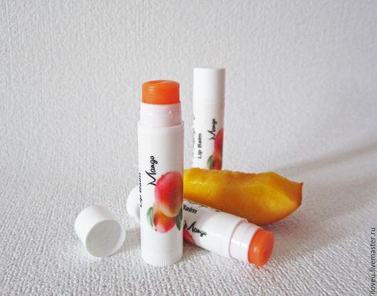 """Бальзам для губ ручной работы. Ярмарка Мастеров - ручная работа. Купить Бальзам для губ """"Манго"""", помада, подарок на 8 марта, белый, оранжевый. Handmade."""