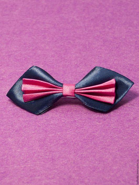 Галстуки, бабочки ручной работы. Ярмарка Мастеров - ручная работа. Купить Брошь галстук-бабочка атласная сине-малинового цвета. Handmade.