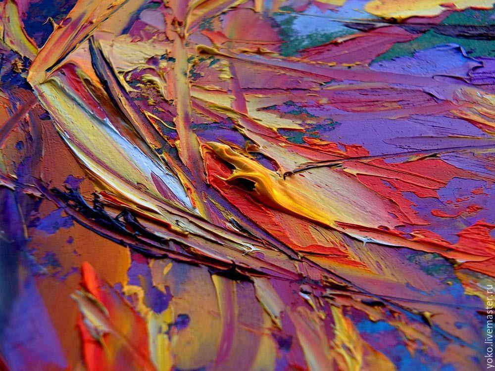 "Multicolor Francoise Nielly Portraits Handmade Oil: Painting Abstraction ""Dahlias"" Dahlias Painting With Oil"