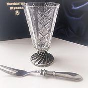 """handmade. Livemaster - original item Набор """"ЭГОИСТ ГРАВИРОВАННЫЙ-50"""". Рюмка и закусочная вилка в футляре.. Handmade."""