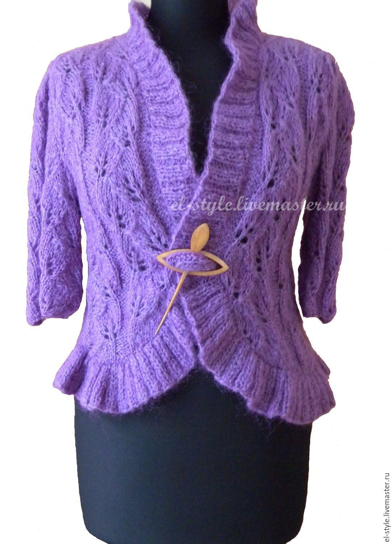 Вязаное фиолетовое болеро