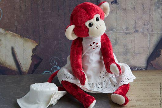 Мишки Тедди ручной работы. Ярмарка Мастеров - ручная работа. Купить Тедди обезьянка Мэри. Handmade. Ярко-красный, опилки