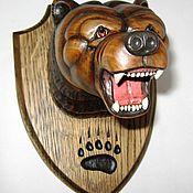 """Русский стиль handmade. Livemaster - original item """"Медведь"""" - трофейный медальон на стену. Handmade."""