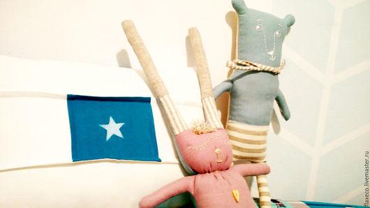 Игрушки животные, ручной работы. Ярмарка Мастеров - ручная работа. Купить Льняные игрушки ручной работы.. Handmade. Комбинированный, голобой