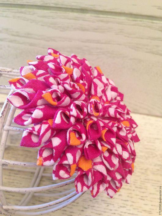 брошь темно-розовая из хлопка георгин необычное украшение летняя брошь оригинальная брошь из хлопка подарок девушке на любой случай яркий акцент летняя брошь лето