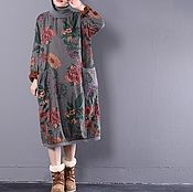 Одежда handmade. Livemaster - original item Winter dress large size / grey. Handmade.