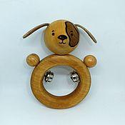 Куклы и игрушки ручной работы. Ярмарка Мастеров - ручная работа Поргемушка деревянная с бубенцами Пёсик. Handmade.