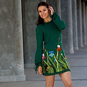 Одежда handmade. Livemaster - original item Emerald wool knit dress with hand embroidery