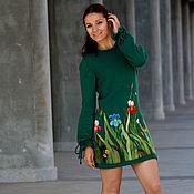Платья ручной работы. Ярмарка Мастеров - ручная работа Изумрудное зимнее шерстяное вязаное женское коктейльное платье ирисы. Handmade.