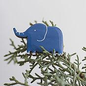 Украшения ручной работы. Ярмарка Мастеров - ручная работа Брошь синий слон. Handmade.