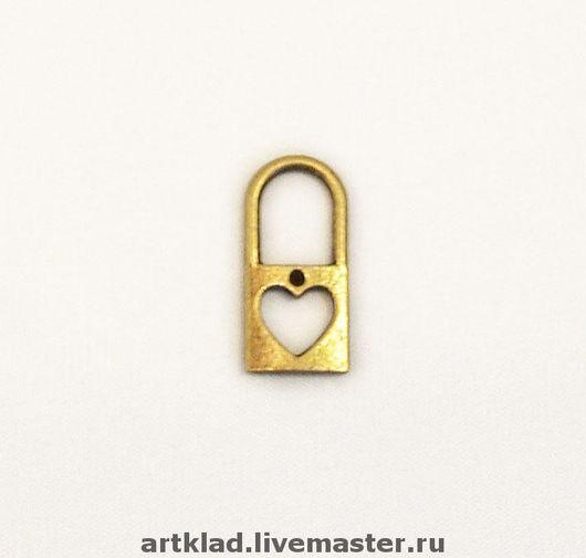 Для украшений ручной работы. Ярмарка Мастеров - ручная работа. Купить Подвеска медный замочек с сердечком(сердце, замок, ключик ключ любовь). Handmade.