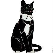 Для дома и интерьера ручной работы. Ярмарка Мастеров - ручная работа Черный кот - витражная подвеска. Handmade.