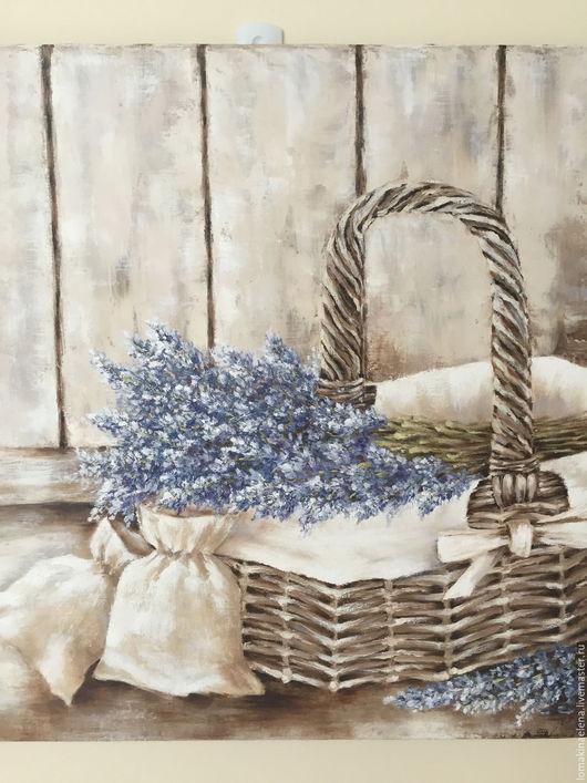 Натюрморт ручной работы. Ярмарка Мастеров - ручная работа. Купить Корзина с лавандой. Handmade. Комбинированный, корзина с цветами, картина с цветами