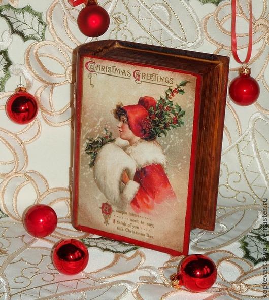 """Шкатулки ручной работы. Ярмарка Мастеров - ручная работа. Купить Шкатулка-Книжка """"Christmas Greetings"""". Handmade. Подарок на новый год"""