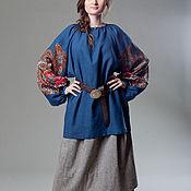 Одежда ручной работы. Ярмарка Мастеров - ручная работа Рубаха павловопосадская синяя льняная с прямыми поликами женская. Handmade.