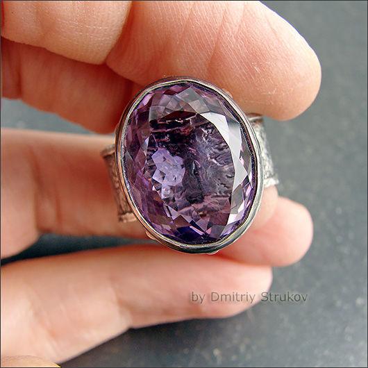 Кольца ручной работы. Ярмарка Мастеров - ручная работа. Купить Перстень с аметистом. Handmade. Фиолетовый, серебро, латунь