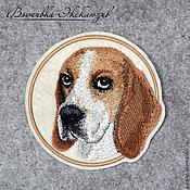 Для домашних животных, ручной работы. Ярмарка Мастеров - ручная работа Вышитый портрет собаки - Бигль. Handmade.