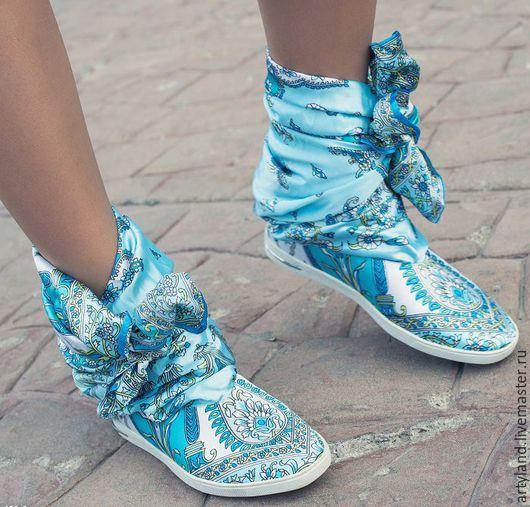 Обувь ручной работы. Ярмарка Мастеров - ручная работа. Купить Кеды (сапоги) тканевые с узором. Handmade. Бирюзовый, стильные кеды
