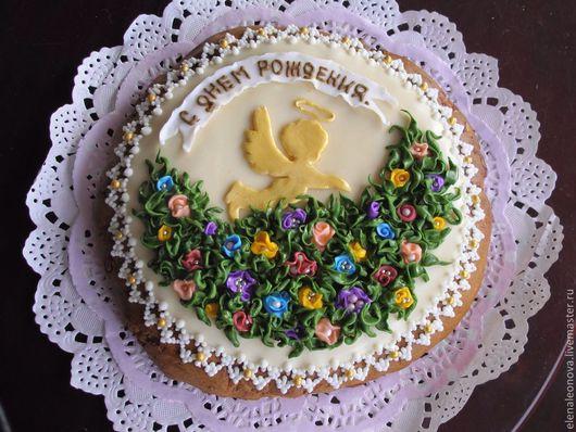 Кулинарные сувениры ручной работы. Ярмарка Мастеров - ручная работа. Купить Пряник цветочный С днем рождения. Handmade.