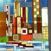 """Для дома и интерьера ручной работы. Ярмарка Мастеров - ручная работа Витраж тиффани в окна """"Манхеттен"""". Handmade."""