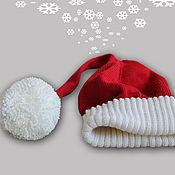 Подарки к праздникам ручной работы. Ярмарка Мастеров - ручная работа Новогодняя шапка-колпак Санты. Handmade.