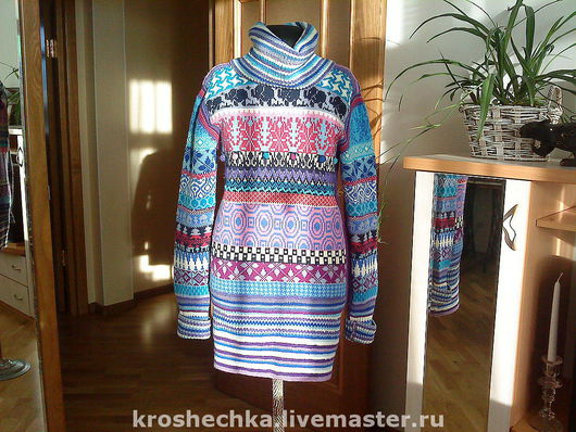 Dresses handmade. Livemaster - handmade. Buy Woolen knitted tunic 'Ornament'.The author's work, tunic, knit dress, cozy