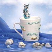 """Посуда ручной работы. Ярмарка Мастеров - ручная работа Кружка, декорированная полимерной глиной """"Кот-морячок"""". Handmade."""