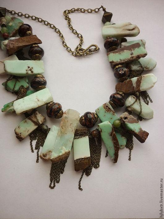 """Колье, бусы ручной работы. Ярмарка Мастеров - ручная работа. Купить Колье """" Кассиопия"""". Handmade. Зеленый с коричневым, хризопраз"""