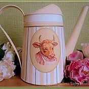 """Цветы и флористика ручной работы. Ярмарка Мастеров - ручная работа Лейка-кашпо """"Mrs. Cow"""". Handmade."""