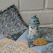 """Для дома и интерьера ручной работы. Ярмарка Мастеров - ручная работа Салфетка на стол """"Голубые узоры"""". Handmade."""